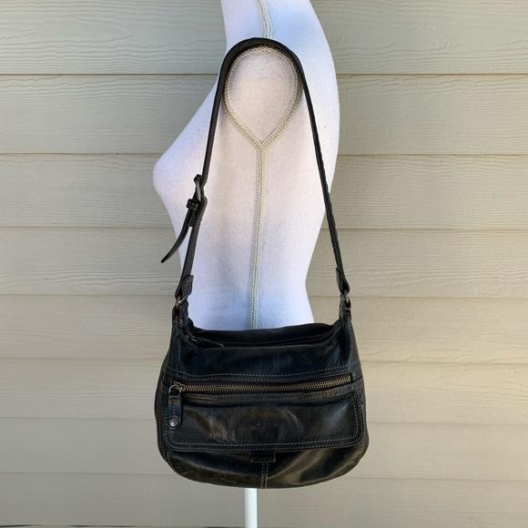Fossil Handbags - Vtg Fossil Black Lthr Shoulder Bag Handbag Purse